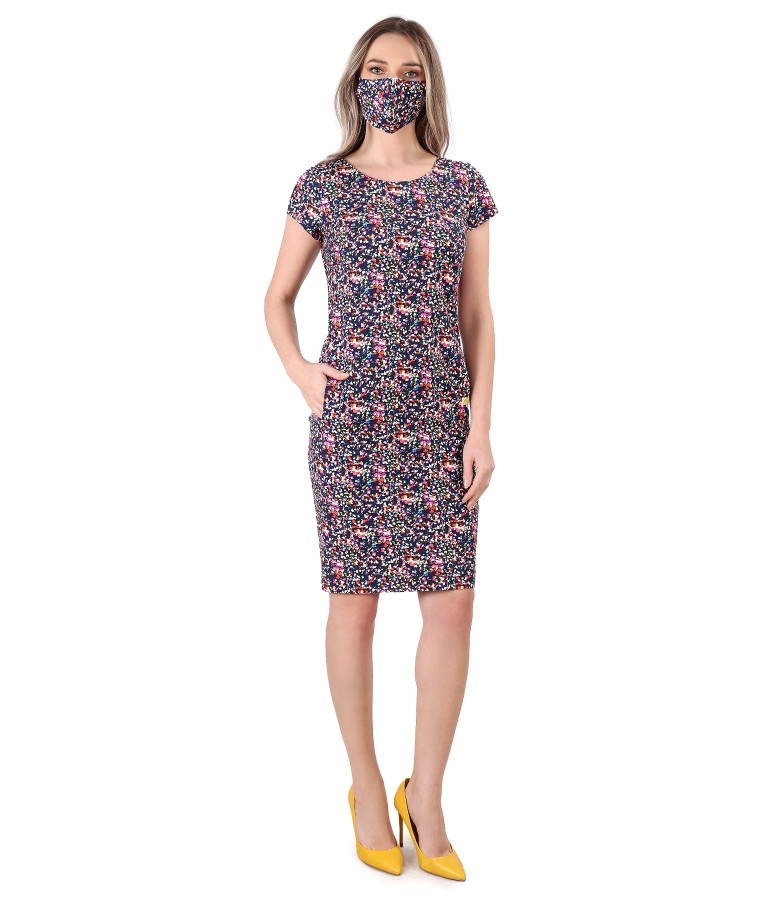 Elegant outfit with dress and mask made of elastic cotton
