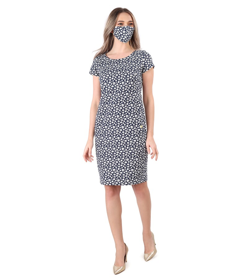 Dress and mask made of elastic cotton printed with floral motifs