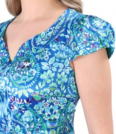 Elegant dress with cotton printed with floral motifs