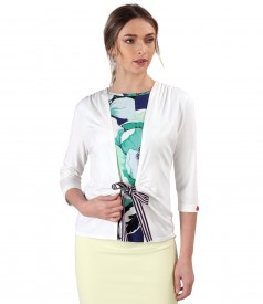 Jersey blouse tied with rips cord