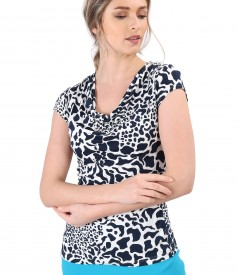 Blouse with folds made of viscose elastic jersey