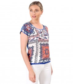 Blouse with viscose front printed with floral motifs
