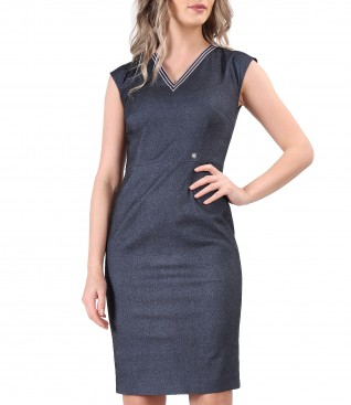 Elastic denim office dress