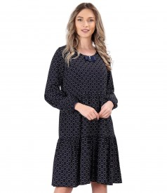 Dress with ruffles made of viscose printed with hoops