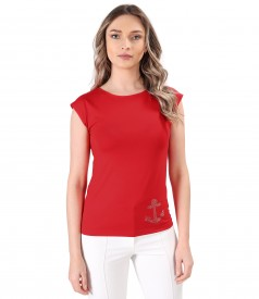 Elastic jersey blouse with decorative anchor