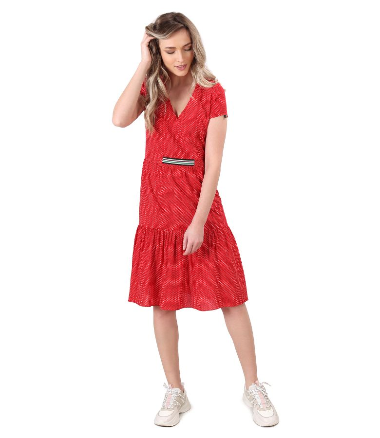 Casual viscose dress with ruffles printed with dots
