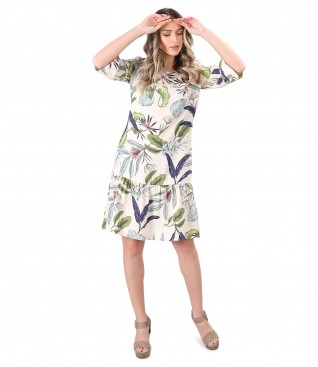 Dress with tencel ruffle printed with floral motifs