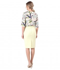 Office outfit with skirt and blouse elegant made of printed tencel