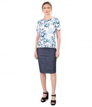 Blouse made of printed elastic cotton with denim skirt