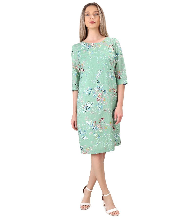 Casual cotton dress with viscose