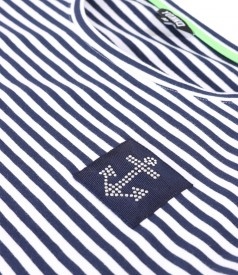 Long dress in elastic striped jersey