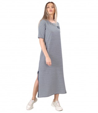 Long dress in elastic striped jersey