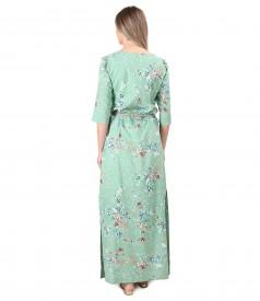 Long cotton dress with viscose