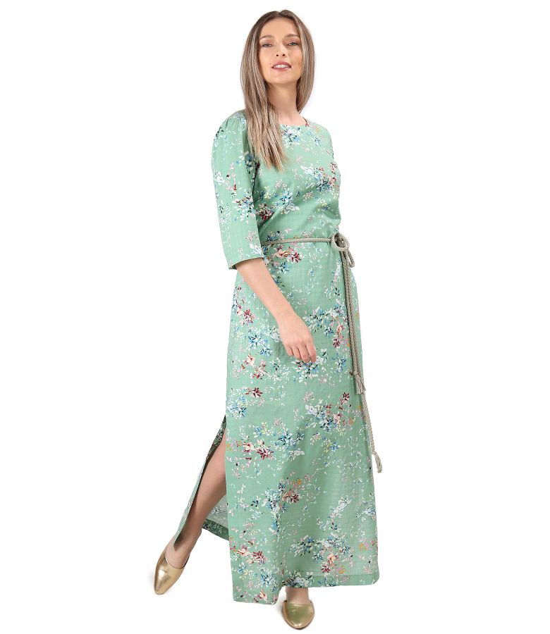 Long cotton dress with viscose