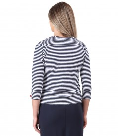 Striped jersey blouse tied with rips cord