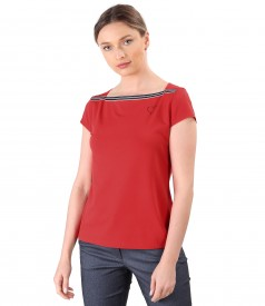Elastic jersey blouse with band at the neckline
