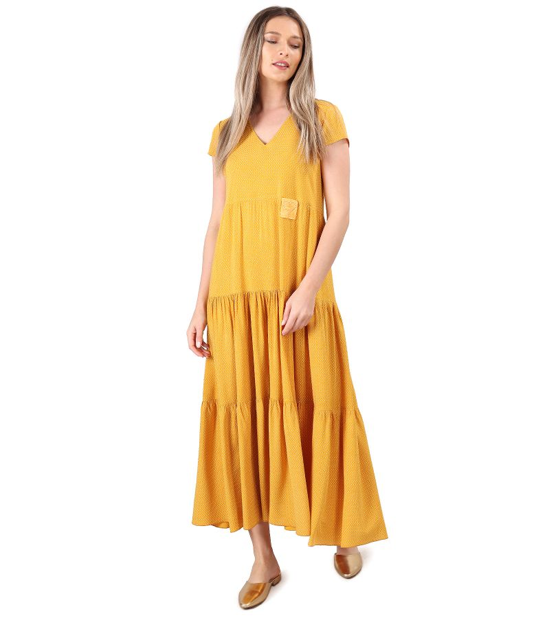 Long viscose dress with ruffles printed with dots