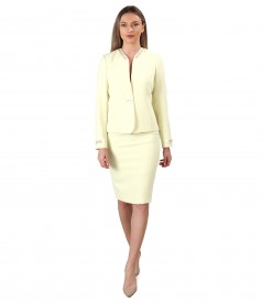 Office women suit with skirt and jacket with trimmings