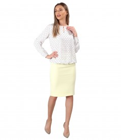 Elegant viscose blouse with tapered skirt