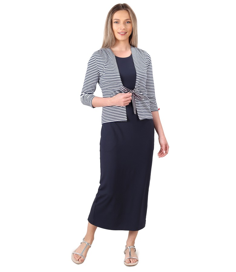 Casual outfit with long dress in elastic jersey and blouse tied with rips cord