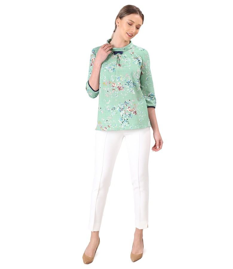 Elegant outfit with ankle pants and cotton blouse with viscose
