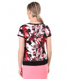 Elastic jersey t-shirt with trim at the end