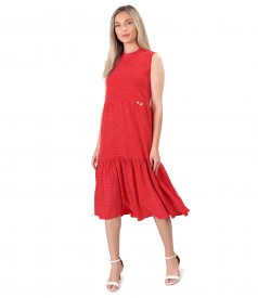 Midi dress with ruffles made of viscose printed with dots