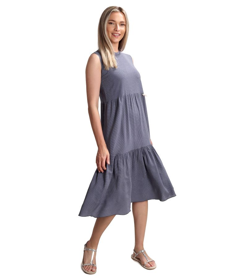 Midi dress with ruffle made of viscose printed with dots