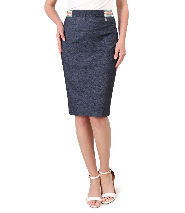 Elastic denim skirt