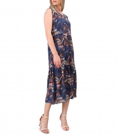 Midi dress with viscose ruffle printed with floral motifs