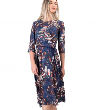 Viscose dress printed with floral motifs