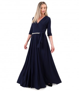 Long dress made of bamboo velvety elastic jersey
