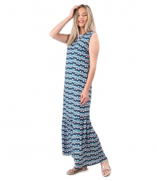 Long dress with ruffle made of printed viscose