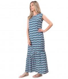 Long dress with ruffle made of printed viscose