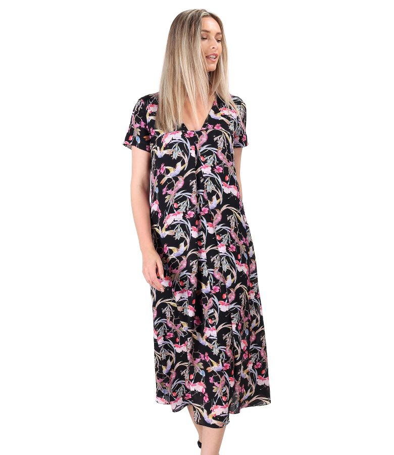 Viscose midi dress printed with hummingbirds and flowers
