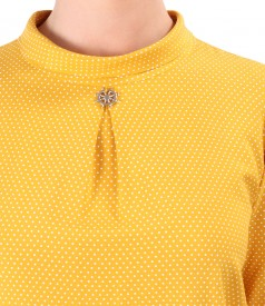 Viscose blouse printed with dots and round collar