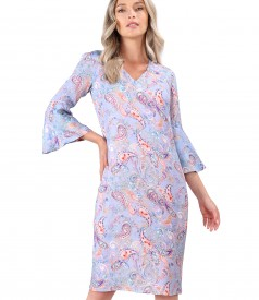Casual viscose dress with paisley motifs