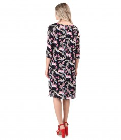 Casual viscose dress printed with hummingbirds and flowers