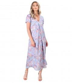 Viscose midi dress printed with paisley motifs