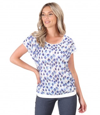 Blouse with veil front digitally printed