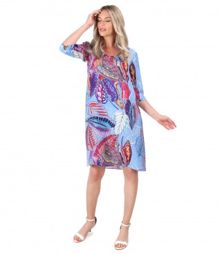 Casual dress in natural cupro fabric with digital print