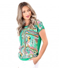 Blouse with printed viscose front