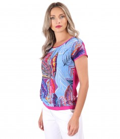 Blouse with front made of natural cupro fabric with digital print