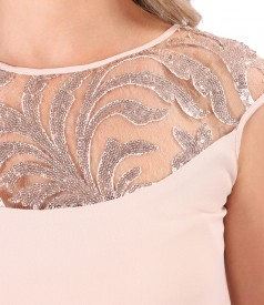 Flared dress with sequin lace front