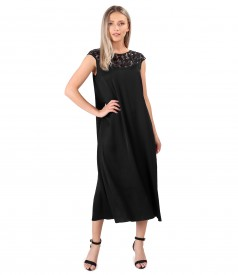 Midi dress with sequin lace front