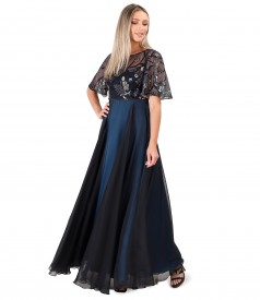 Long dress with sequin embroidery