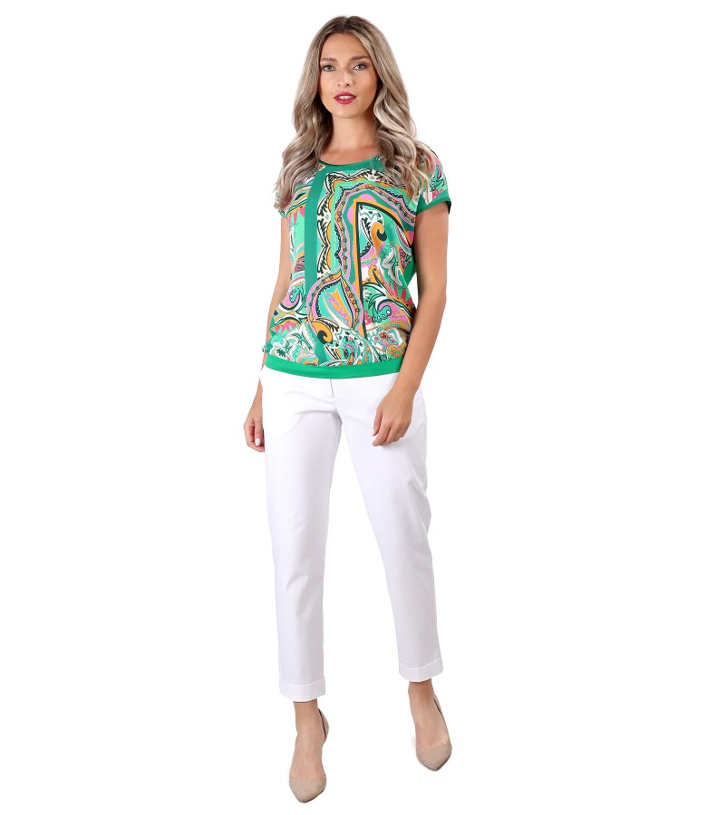 Elegant outfit with textured cotton pants and viscose blouse