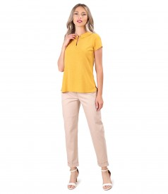 Textured cotton pants with lace viscose blouse
