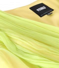 Natural silk veil evening dress with brooch