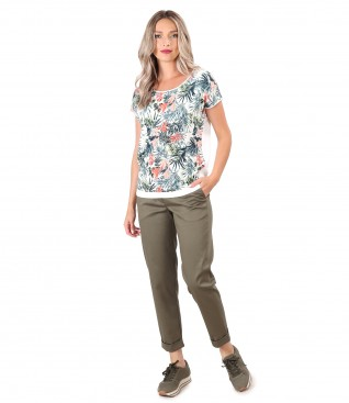 Smart/casual outfit with textured cotton pants and blouse with printed viscose front